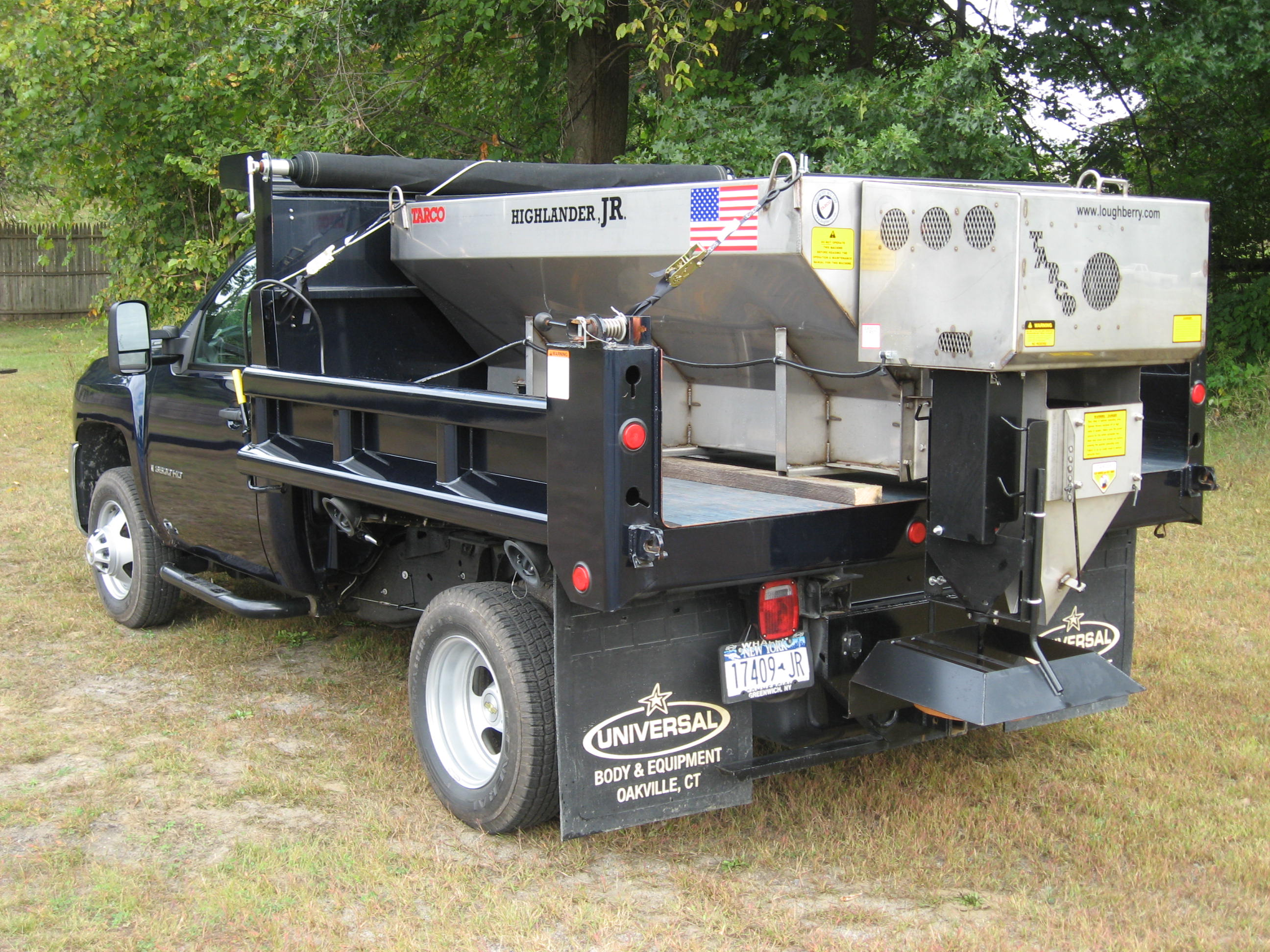 All season dump bodies, tire recycling machines, vacuum leaf loader boxes, salt and sand spreaders, v-box spreaders, and other municipal equipment manufactured by Loughberry Mfg. Corp. under the Tarco brand.